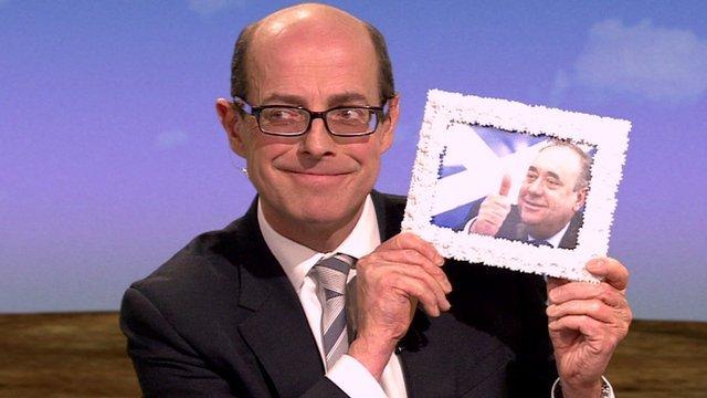 Nick Robinson and Alex Salmond framed photograph