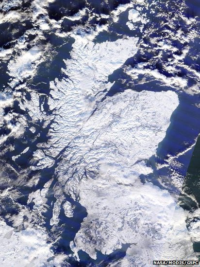 Satellite image of Scotland at Christmas 2010