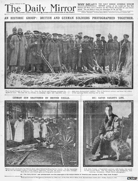 Front page of Daily Mirror from January 1915 with illustration of Christmas Truce