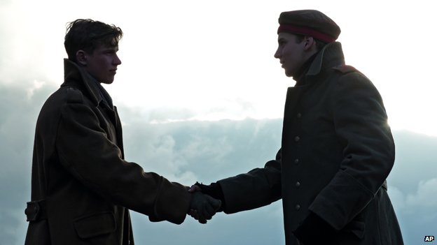 British and German soldier shake hands in a frame from Sainsbury's Christmas advert