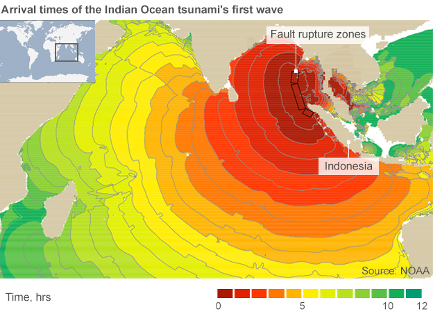 Map showing the arrival time of the 2004 Indian Ocean tsunami waves