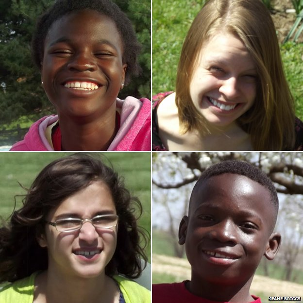 Clockwise from top left: Grace, Nataly, Lily and Levi