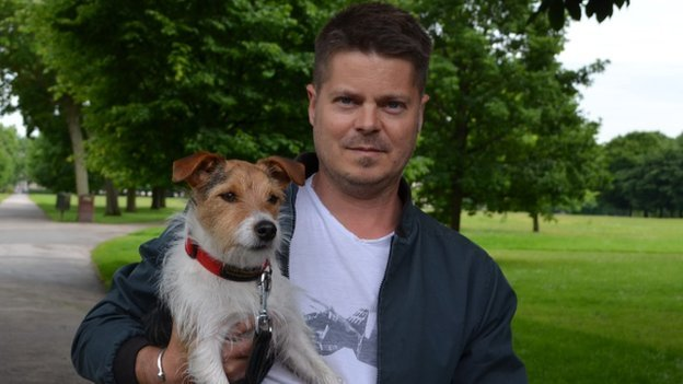 JT Thomas and his white haired Jack Russell called Charlie