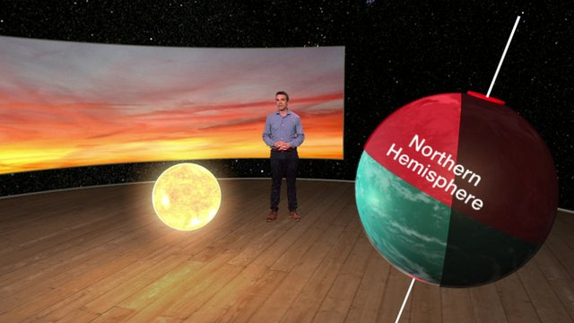 John Hammond with 3d graphics of the Sun and Earth