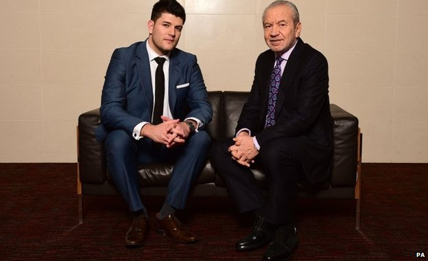 The winner of the latest series of the BBC programme The Apprentice Mark Wright, 25, celebrates with Lord Sugar in London