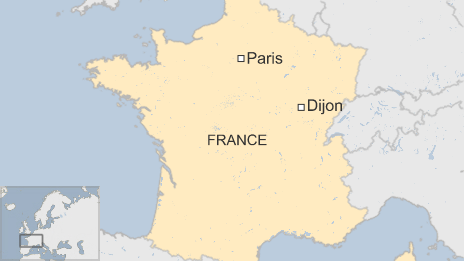 A map showing Dijon, France