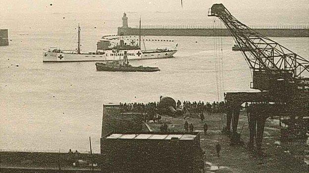 SS Vega entering Guernsey's St Peter Port Harbour