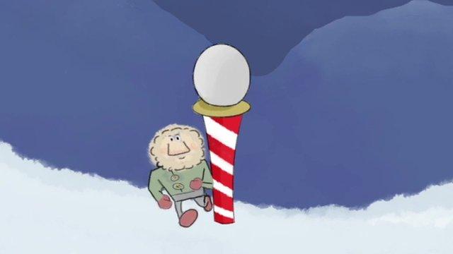 Cartoon of Phil Haslam at the South Pole