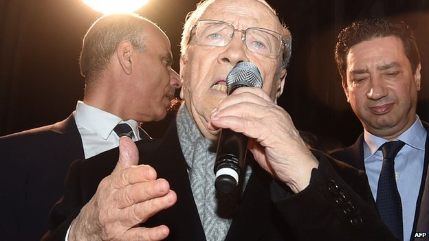 Beji Caid Essebsi addresses supporters following Tunisia's presidential election - 21 December 2014