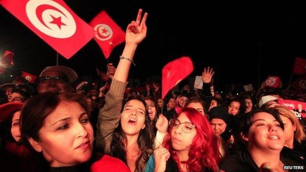Beji Caid Essebsi celebrate in Tunis - 21 December 2014