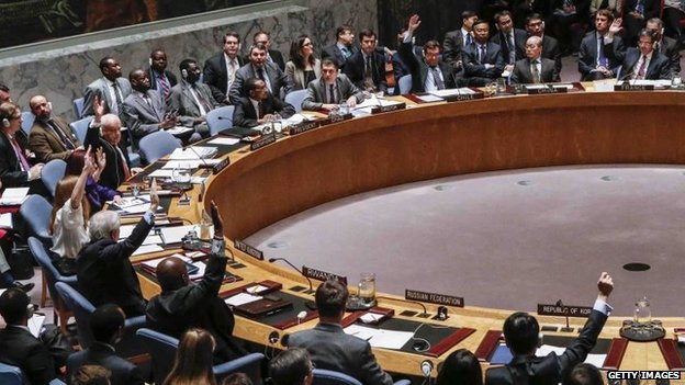 United Nations Security Council members vote to adopt the agenda of human rights violations in North Korea during a meeting of the United Nations Security Council in New York City, 22 December 2014