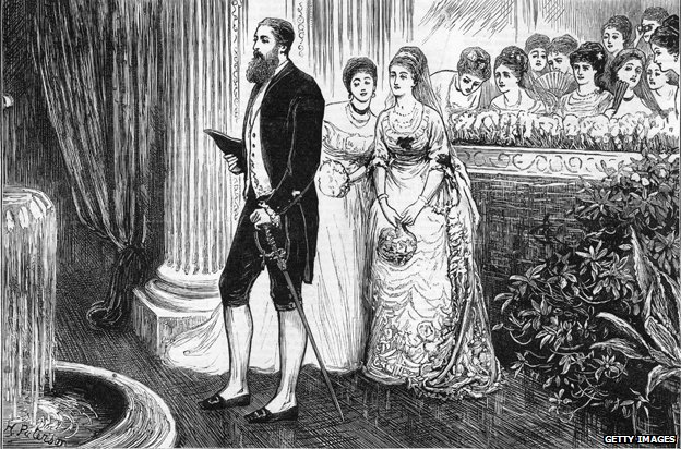 circa 1880: The Russian ladies at a Nobles' Ball in Moscow gasp at the foreign court dress of a visiting Englishman