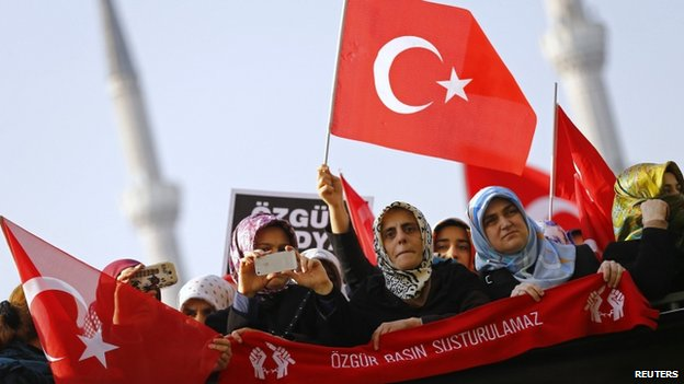 Supporters of the Gulen movement protest in December
