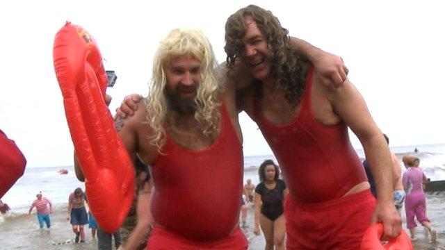 Beach babes at the Cromer Boxing Day dip