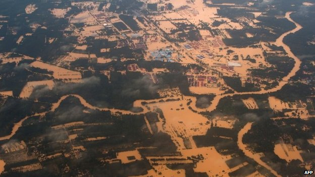An aerial shot showing the effects of flooding in Malaysai