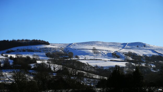 Snow covered hills around Macclesfield on 28 December 2014