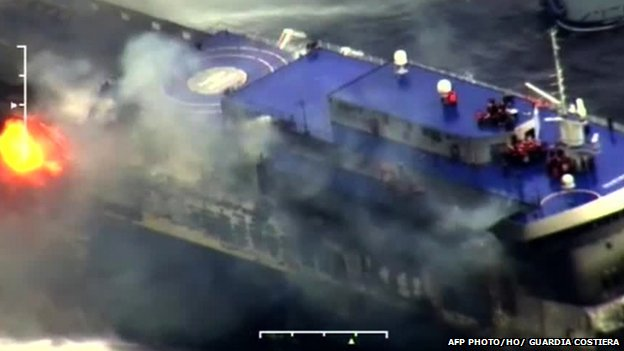 Footage released by the Italian coast guard showed the ferry shrouded in smoke