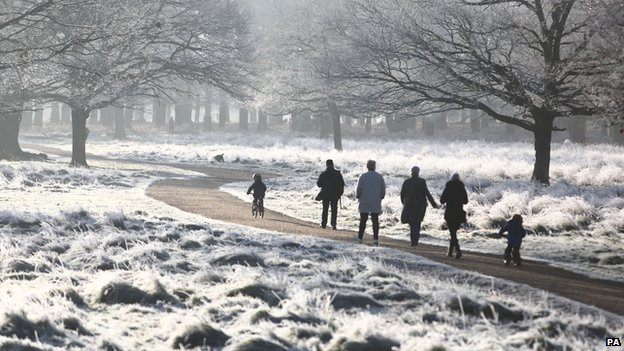 Walkers in Richmond Park, south west London, on 29 December