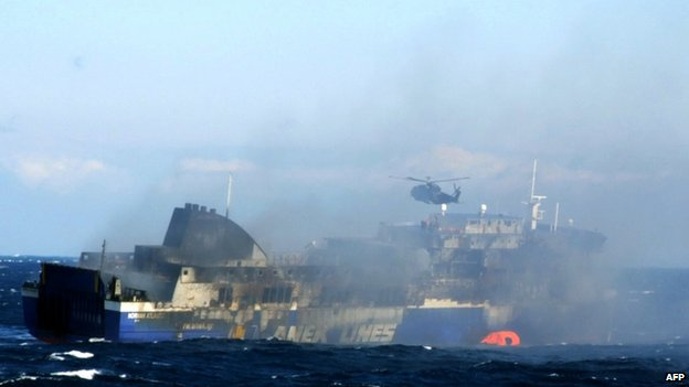 The rescue operation at the Norman Atlantic, 29 Dec
