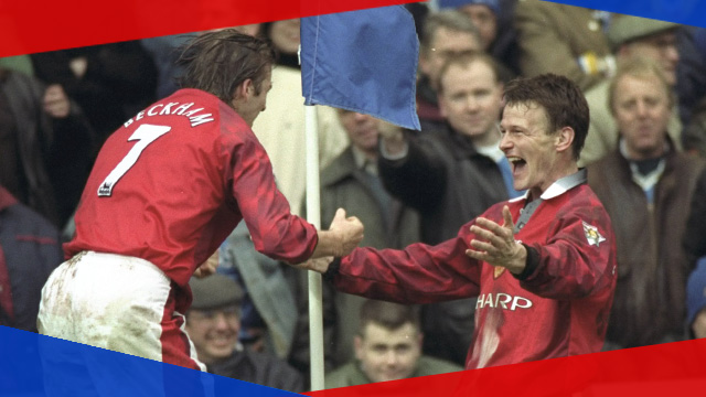 David Beckham and Teddy Sheringham celebrate a goal in the FA Cup third-round