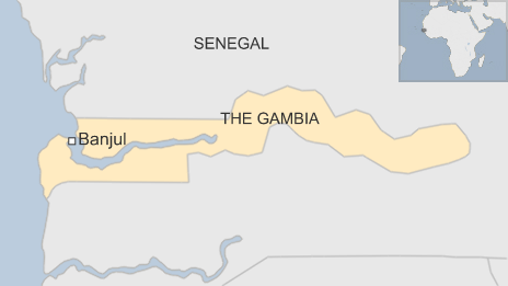 Map of The Gambia showing the capital Banjul - 30 December 2014