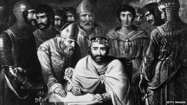 Illustration of King John signing Magna Carta
