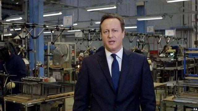 Screen grab of David Cameron's new year message