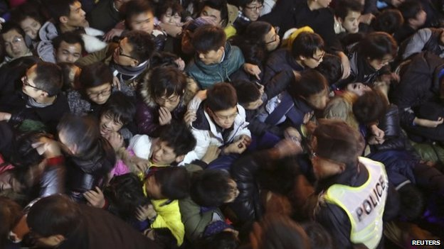 A view of a stampede is seen during the New Year's celebration on the Bund, a waterfront area in central Shanghai, 31 December 2014