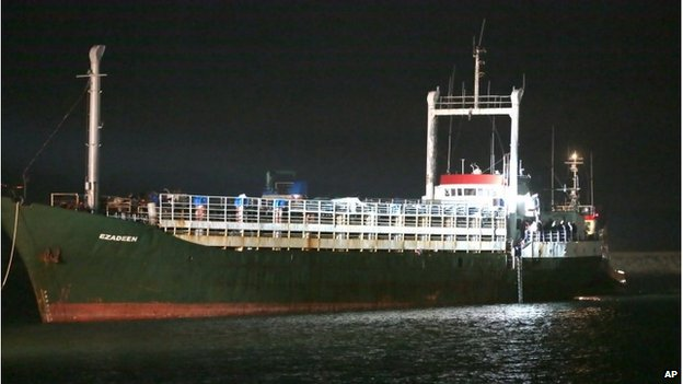 The cargo ship Ezadeen at the port of Corigliano, Italy, 2 January 2015
