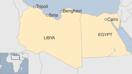 Map showing the Libyan cities of Tripoli, Benghazi and Sirte and Egypt's capital Cairo - 3 December 2015