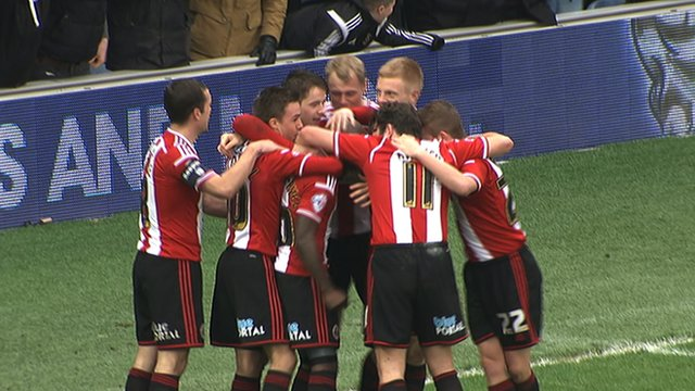 Sheffield United celebrate going 2-0 up in their third-round FA Cup tie against QPR