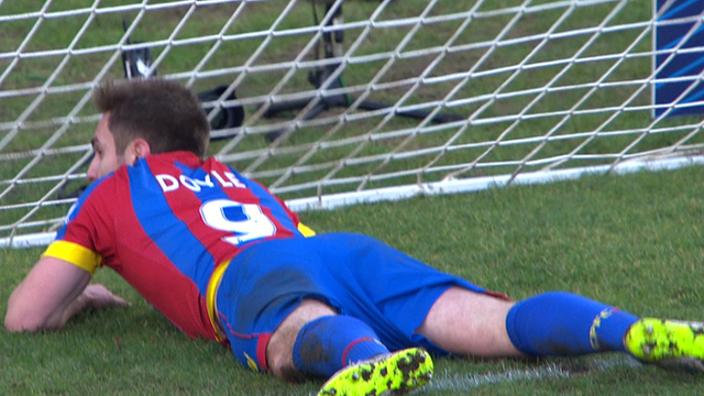 Kevin Doyle pokes in from one yard to round off Crystal Palace's 4-0 win at Dover Athletic in their third round FA Cup clash.