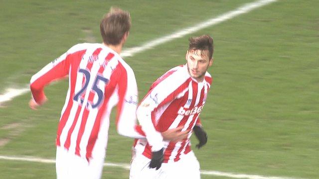 Marko Arnautovic celebrates after scoring for Stoke against Wrexham