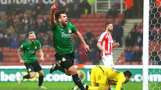 Mark Carrington celebrates after scoring for Wrexham against Stoke