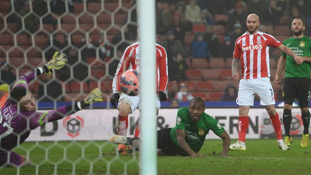 Stephen Ireland scores a second goal to wrap up a 3-1 victory for Stoke against Wrexham