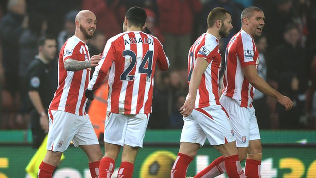 Stephen Ireland celebrates after scoring for Stoke against Wrexham