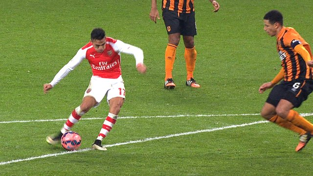 Alexis Sanchez scores a wonderful solo effort to put Arsenal 2-0 against Hull
