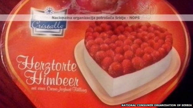 The packing for a cake, thousands of which have been stolen from a Serbian landfill site