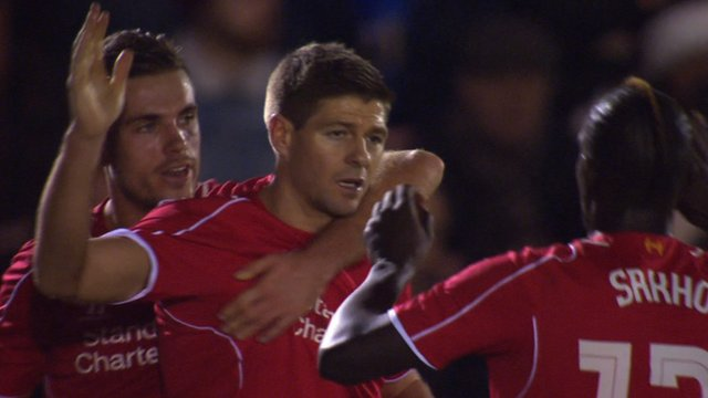 Liverpool skipper Steven Gerrard puts his team ahead against AFC Wimbledon for a second time in the match, curling home a gorgeous free-kick from 20 yards