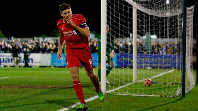 Steven Gerrard books Liverpool's place in round four of the FA Cup with both goals in their 2-1 win at AFC Wimbledon