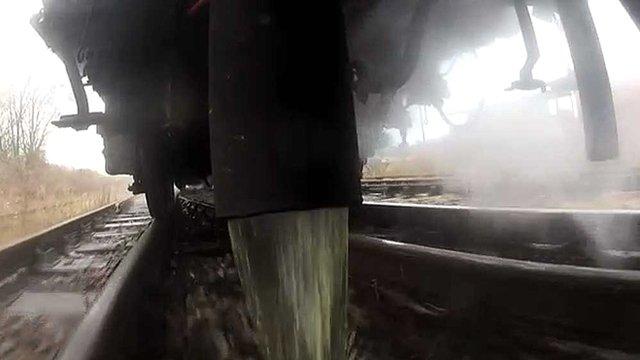 Toilet waste from railway train