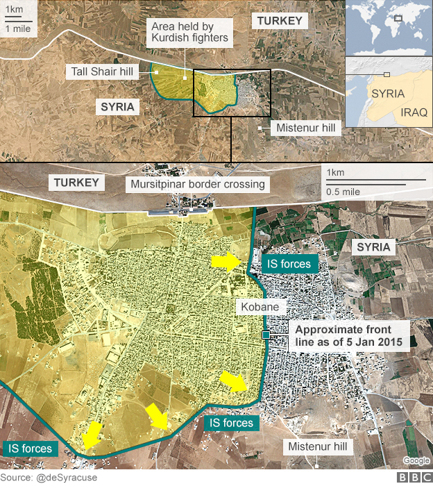 Map showing approximate frontline in Kobane, Syria, as of 5 January 2015