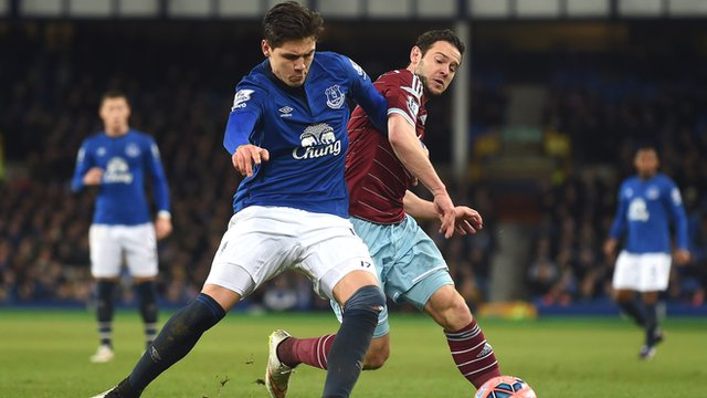 Everton's Muhamed Besic challenges with West Ham's Matt Jarvis