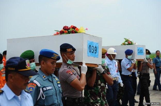 Indonesian personnel carry coffins of air crash victims in Surabaya, 7 January