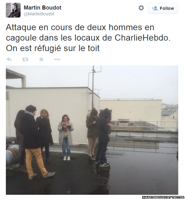 "Translation: ""Attack by two hooded men on the offices of Charlie Hebdo. We've taken refuge on the roof"""