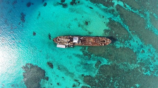 Drone view of ship