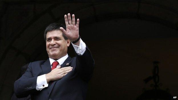 Paraguay president Horacio Cartes, 24 Nov 2014, in Quito, Ecuador