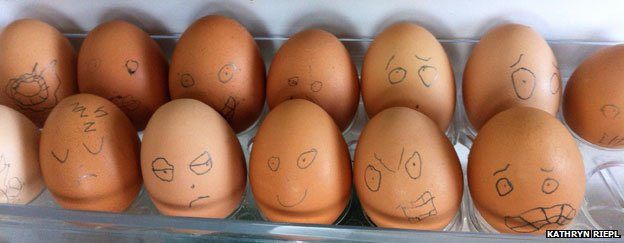 Army of eggs with faces drawn on them