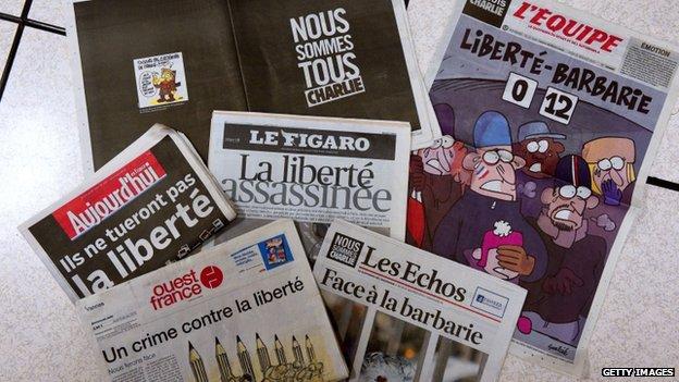 Charlie Hebdo Attack World Press United In Defiance Bbc News