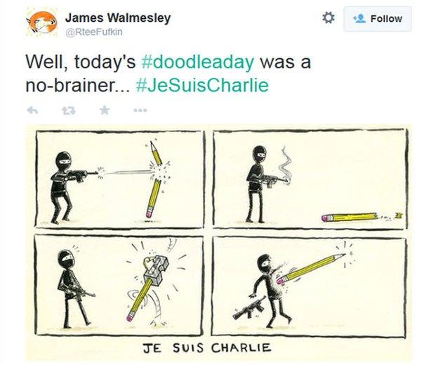 Cartoon showing a pencil rubbing out a gunman